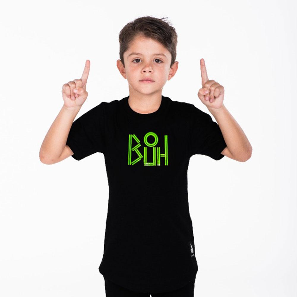 Camiseta Buh Logo lines Preta Infantil