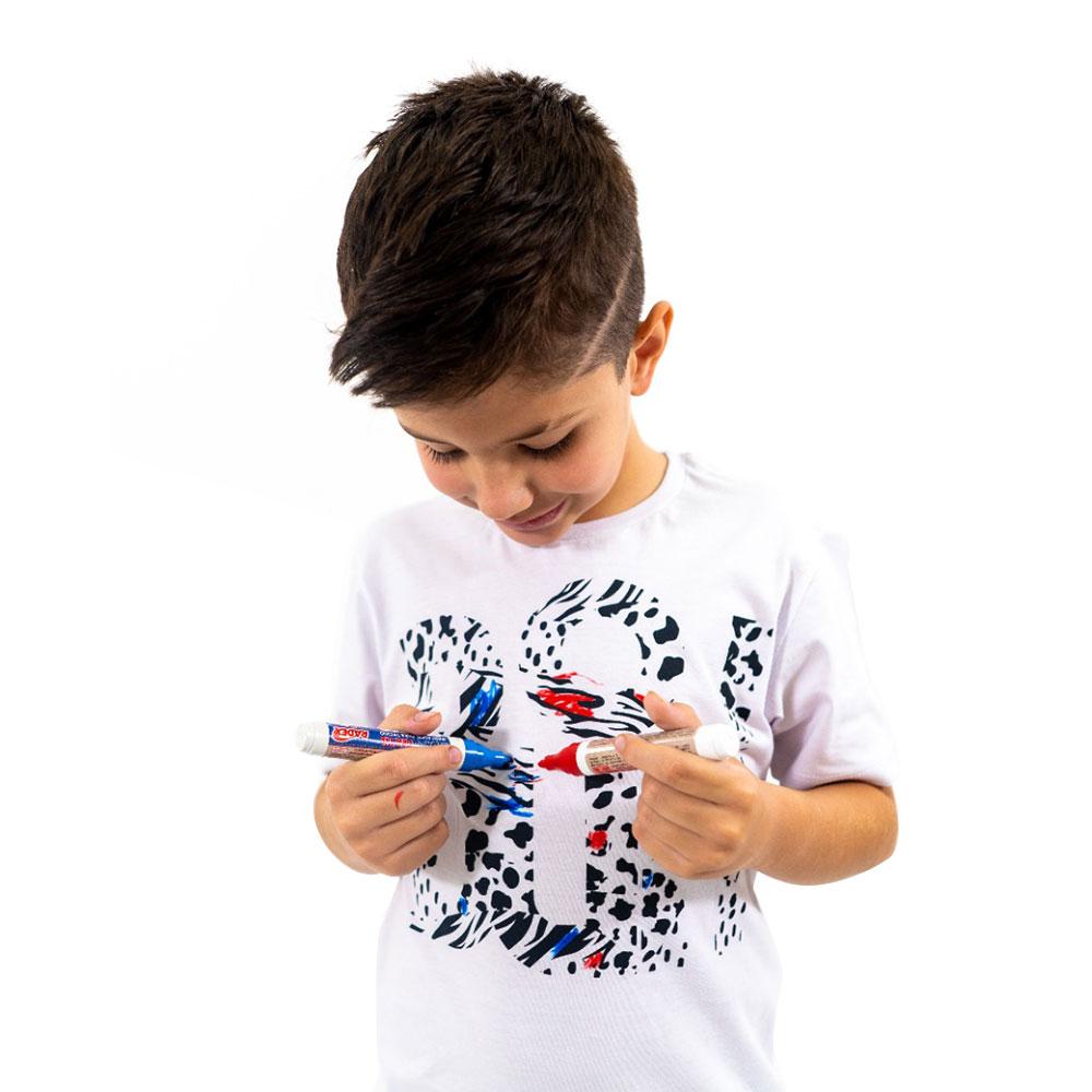 Camiseta Buh Onça Branca p/ Colorir kids
