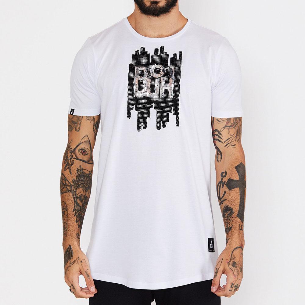 Camiseta Buh Paetê Reverso Branca