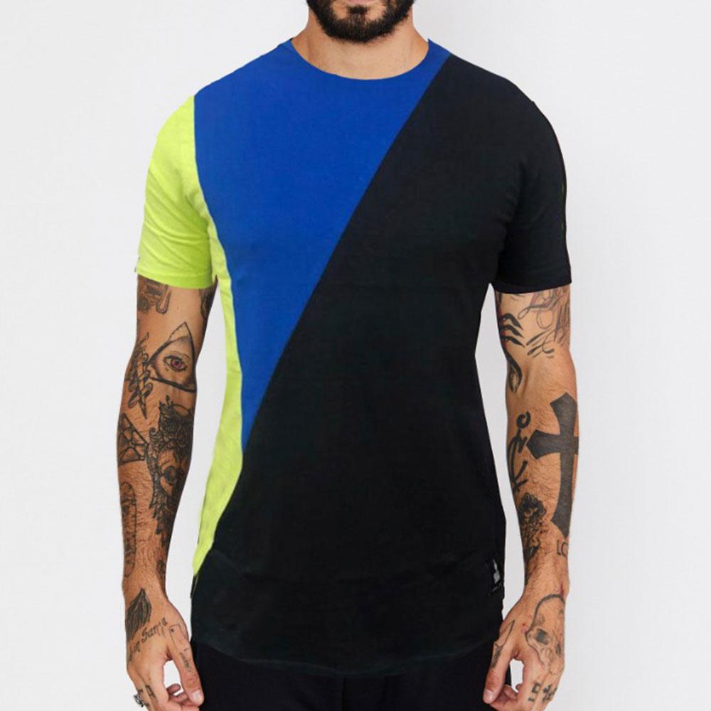 Camiseta Buh Recortes Preta, Azul e Verde