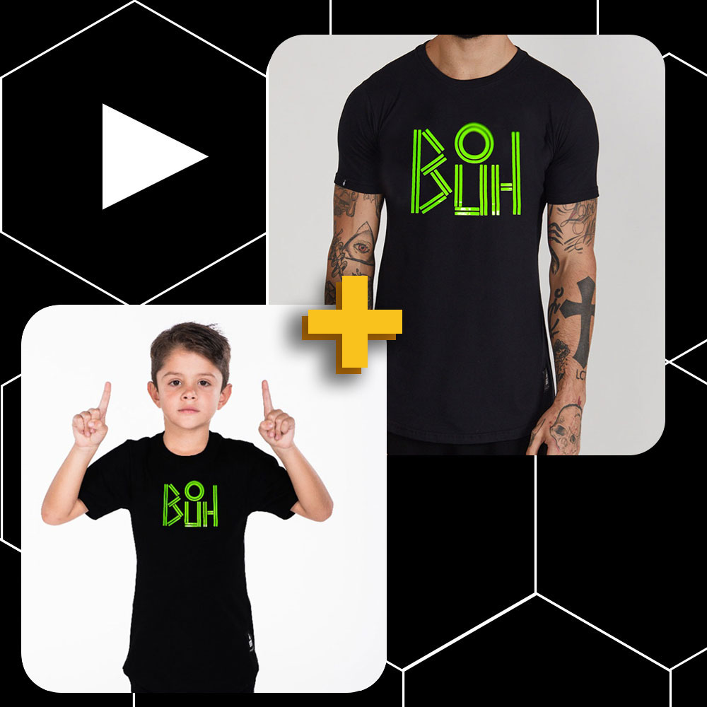 Conjunto Buh Pai e Filho Lines Preto