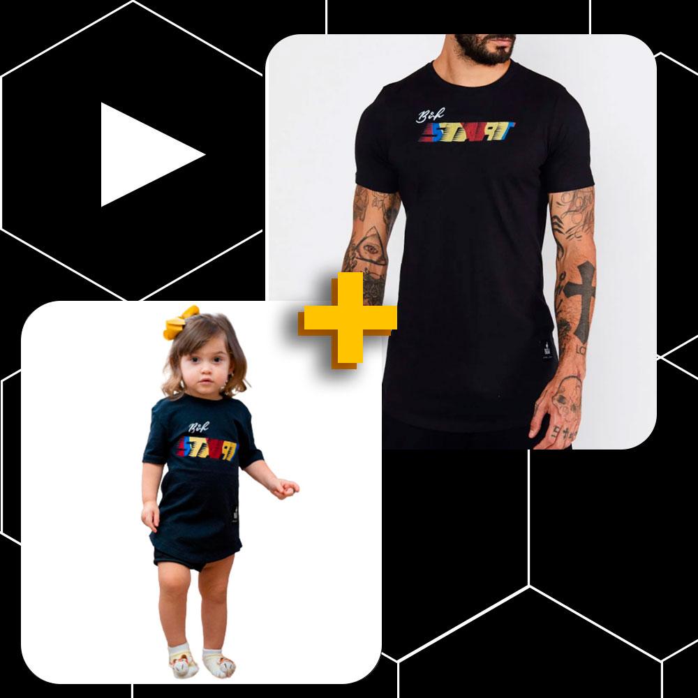 Conjunto Pai e Filho Camiseta Buh Bordado Start Preta
