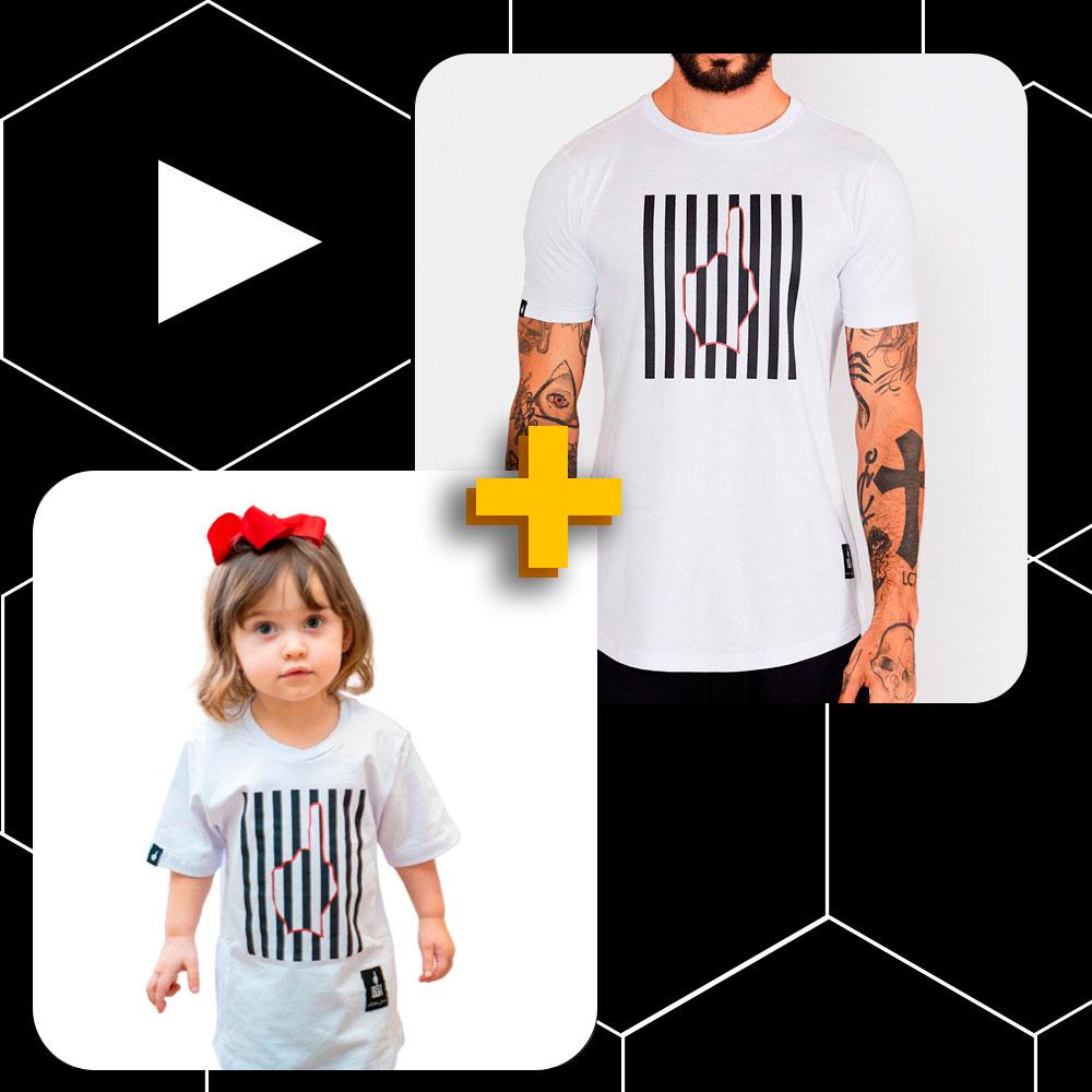 Conjunto Pai e Filho Camiseta Buh Finger Lines Branca