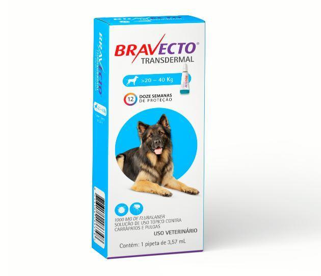 BRAVECTO TRANSDERMAL CAES 1000MG 20 - 40KG