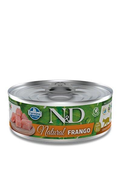 ND FELINE WET NATURAL FRANGO 80G