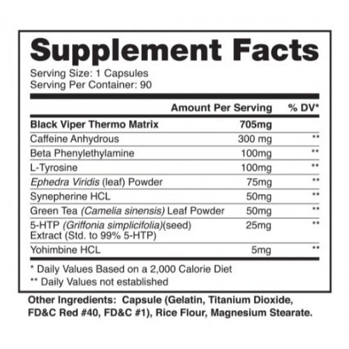 Black Viper - Dragon Pharma (90 Cápsulas - Importado)