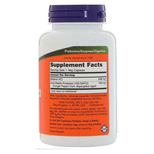 Cloridrato de Betaína - Now Foods (120 Cápsulas - 648 mg )