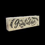 Bloco de madeira Gratidão
