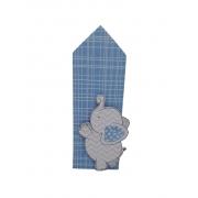 Placa de mesa com aplique elefante azul