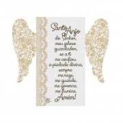 Placa de mesa com asas Santo Anjo do Senhor dourado