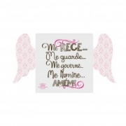 Placa de mesa com asas Santo Anjo rosa