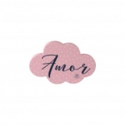 Placa de mesa nuvem amor rosa