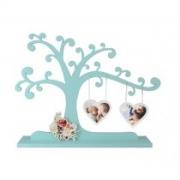 Porta retrato árvore com dois corações e aplique floral