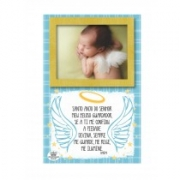 Porta retrato de mesa com oração do Santo anjo na cor azul