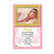 Porta retrato de mesa com oração do santo anjo na cor rosa