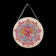 Quadro decorativo redondo com Mandala colorido