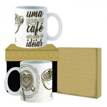 Caneca em cerâmica Uma xícara de café está cheia de ideias