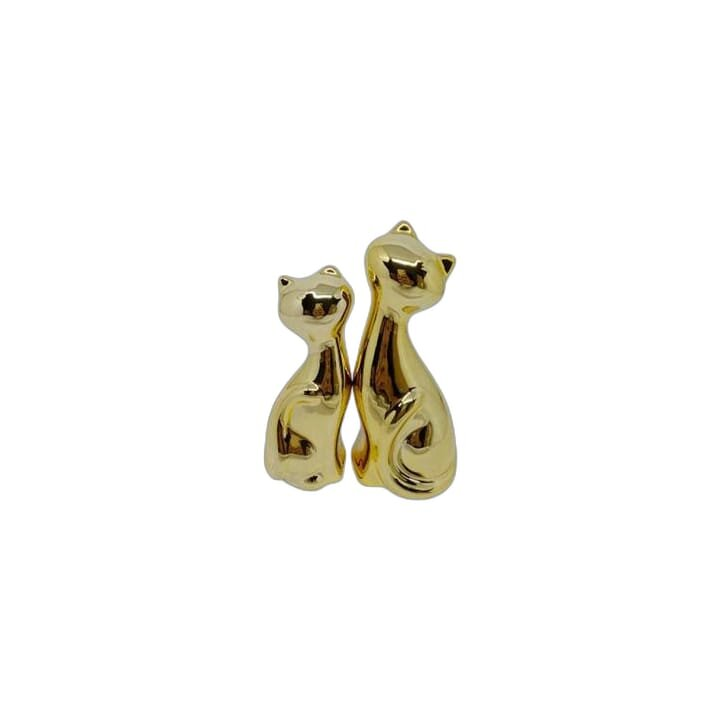 Enfeite par de gatos dourados