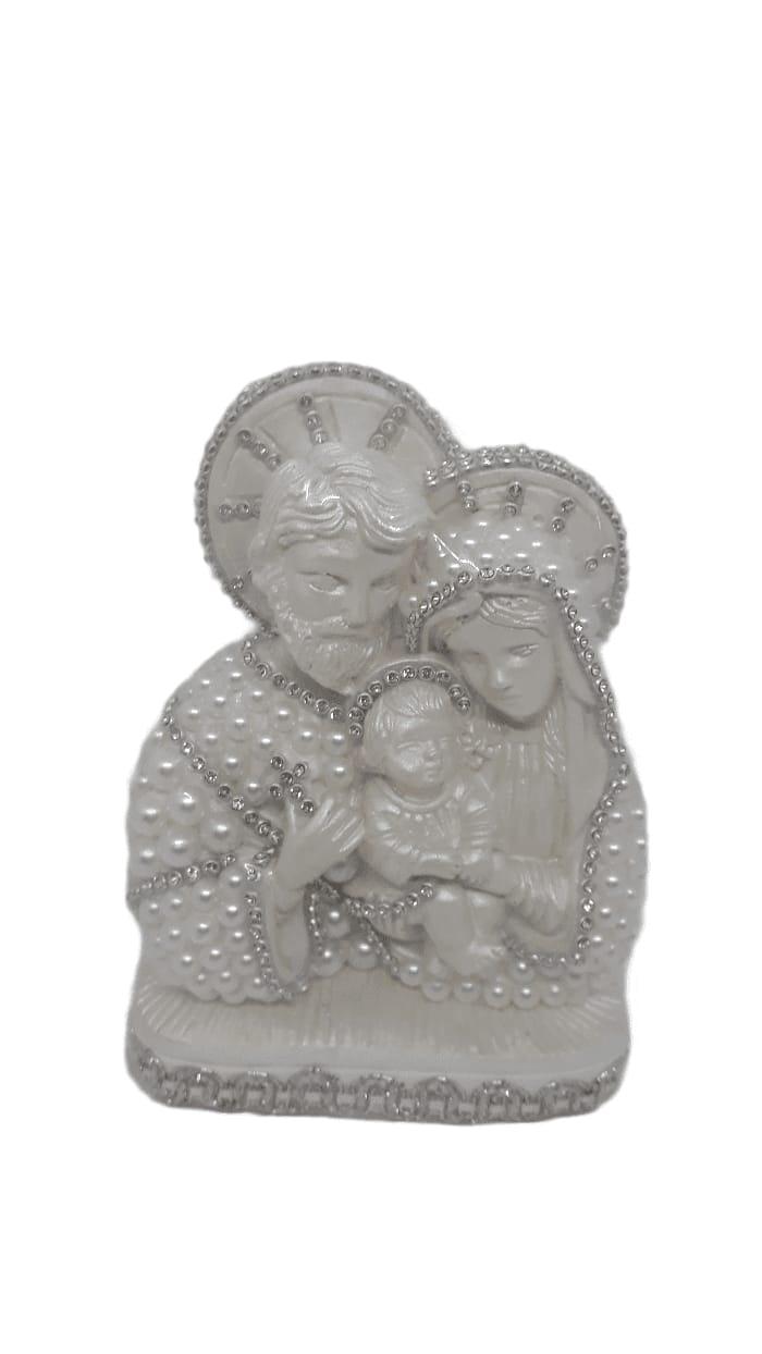Enfeite Sagrada Família na  cor branca com pérolas