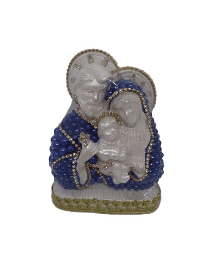 Imagem Sagrada Família na cor azul e dourado