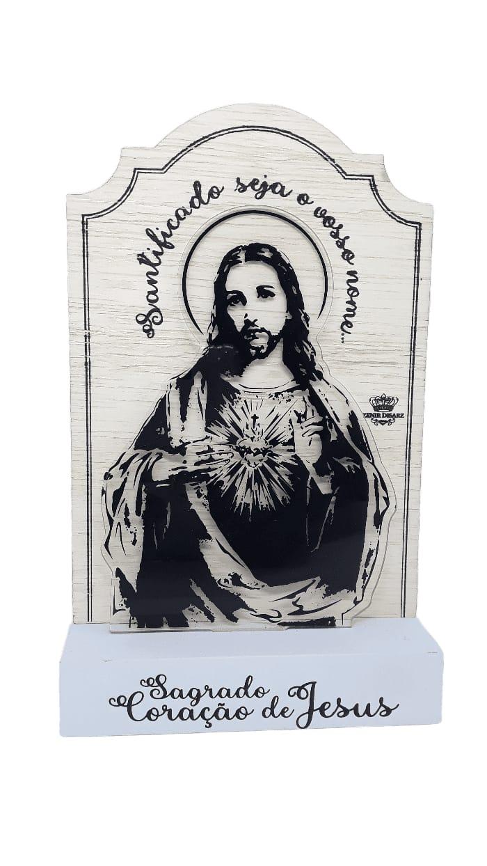 Madeirinha com acrilíco Sag. Coração de Jesus
