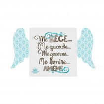 Placa de mesa com asas Santo Anjo azul