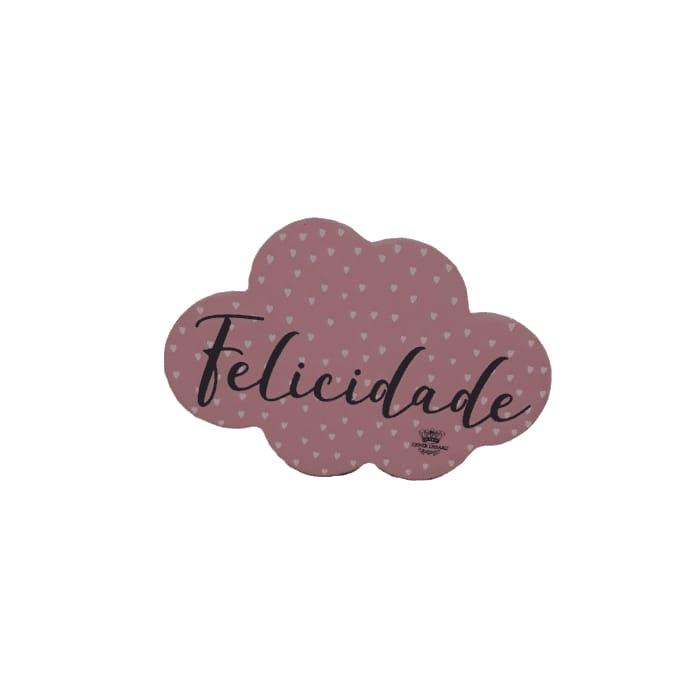 Placa de mesa nuvem Felicidade  rosa