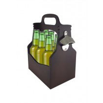Porta garrafa com abridor marrom