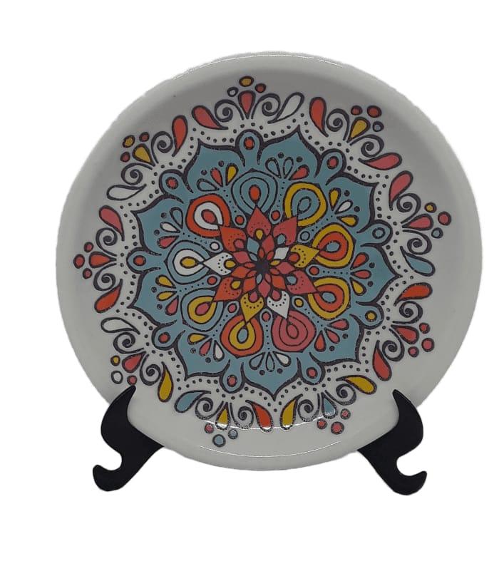 Prato Decorativo Mandala colorida