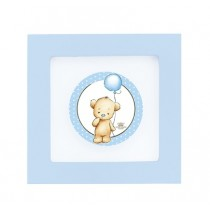 Quadrinho Urso azul com balão