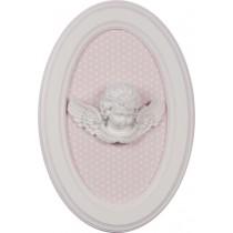 Quadro oval anjo rosa