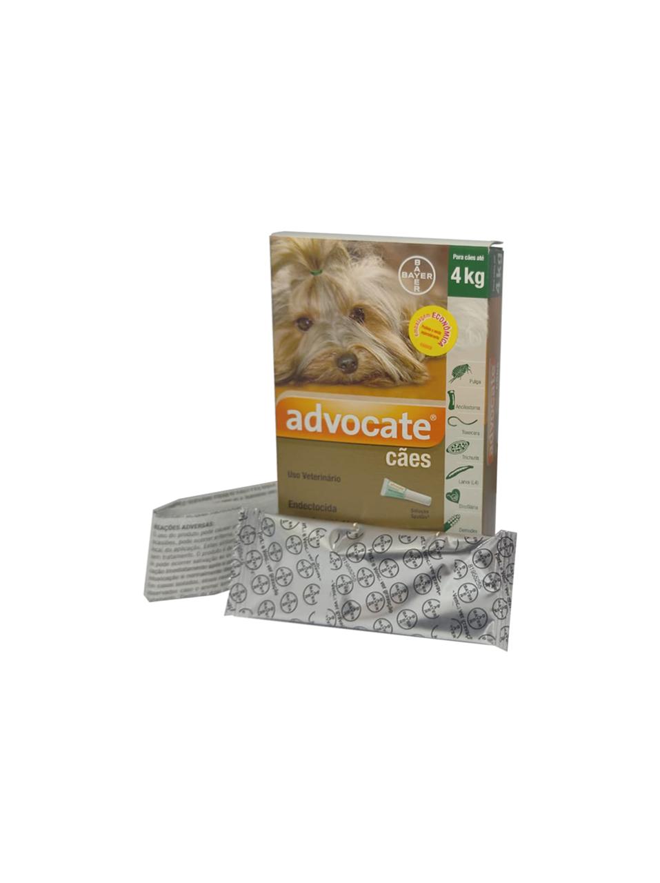 Antipulgas Bayer Advocate para Cães até 4 Kg - 0,4 mL