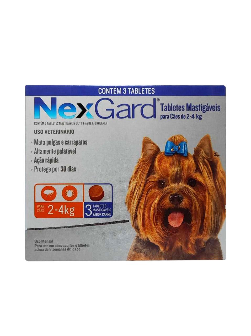 Antipulgas e Carrapatos NexGard 11,3 mg para Cães de 2 a 4 Kg - 3 Tabletes