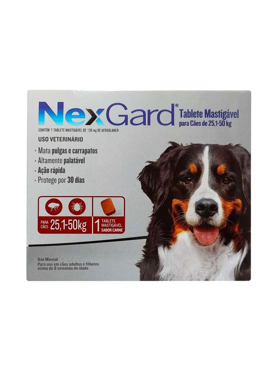 Antipulgas e Carrapatos NexGard 136 mg para Cães de 25,1 a 50 Kg - 1 Tablete