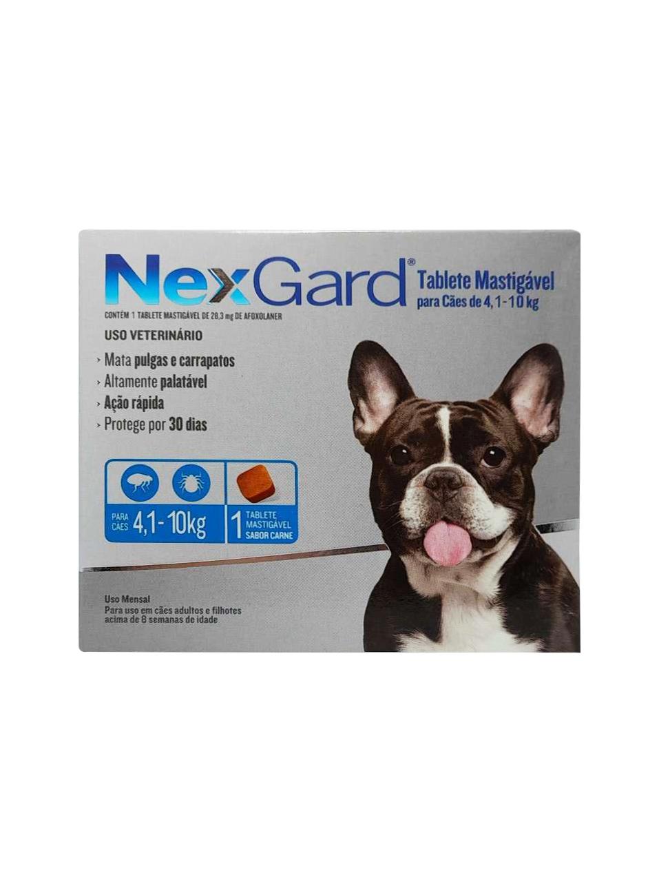 Antipulgas e Carrapatos NexGard 28,3 mg para Cães de 4,1 a 10 Kg - 1 Tablete