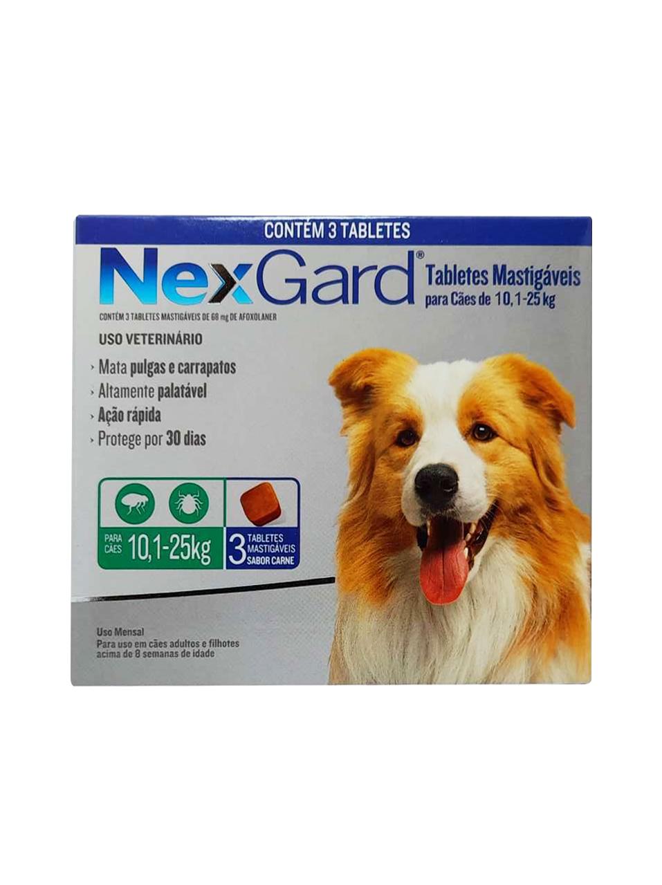 Antipulgas e Carrapatos NexGard 68 mg para Cães de 10,1 a 25 Kg - 3 Tabletes