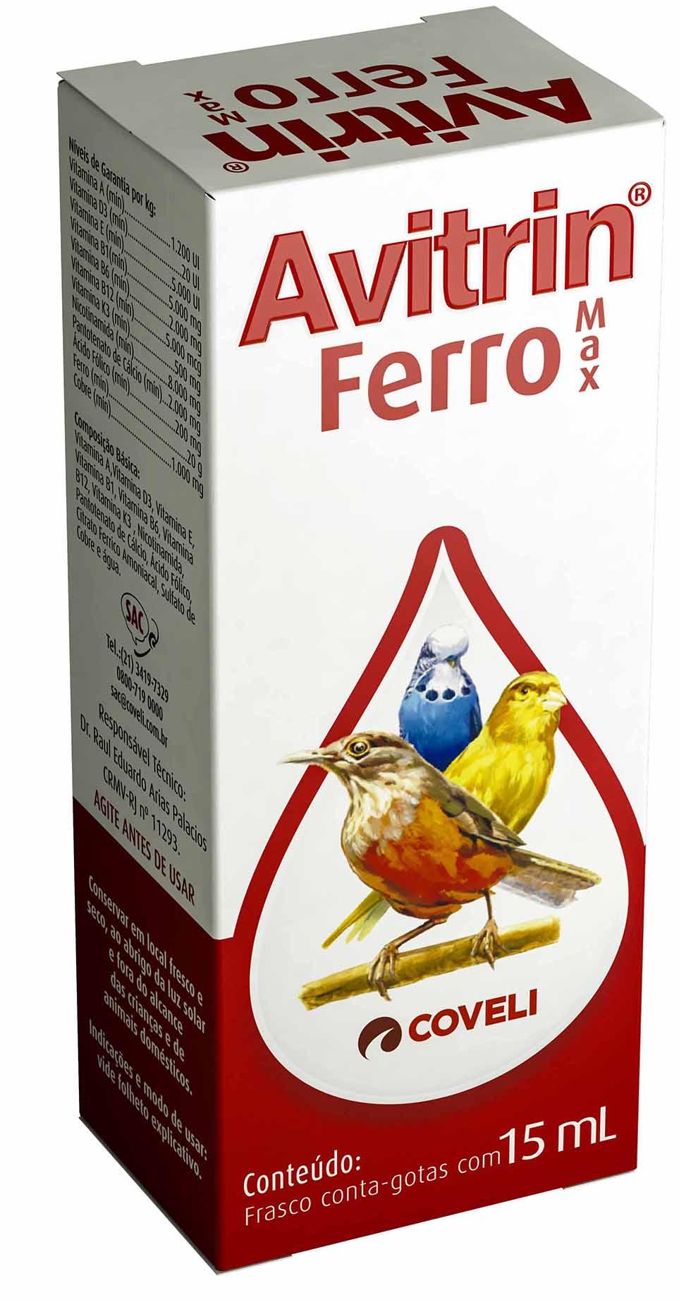 Avitrin Ferro Max 15ml Aves Suplemento Vitamínico Coveli