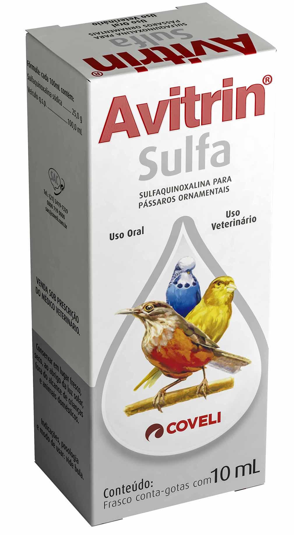 Avitrin Sulfa Suplemento Para Pássaros Coveli 10ml