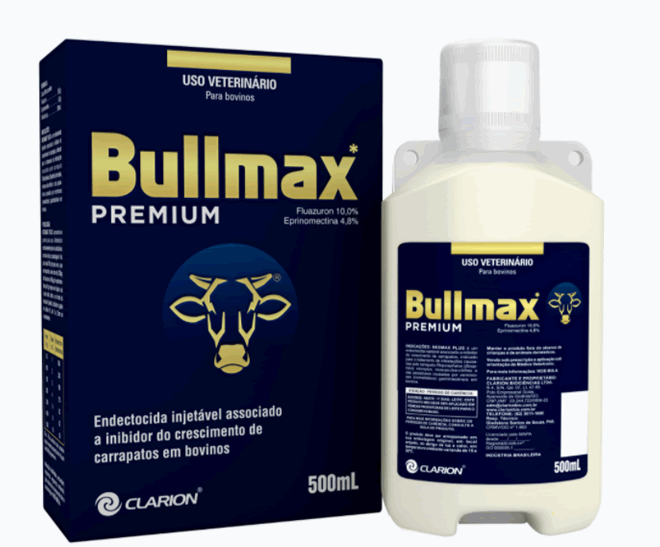 Bullmax Premium Inj - Fluazuron 10% - Eprinomectina 4,8% - 500ml - Vetoquinol