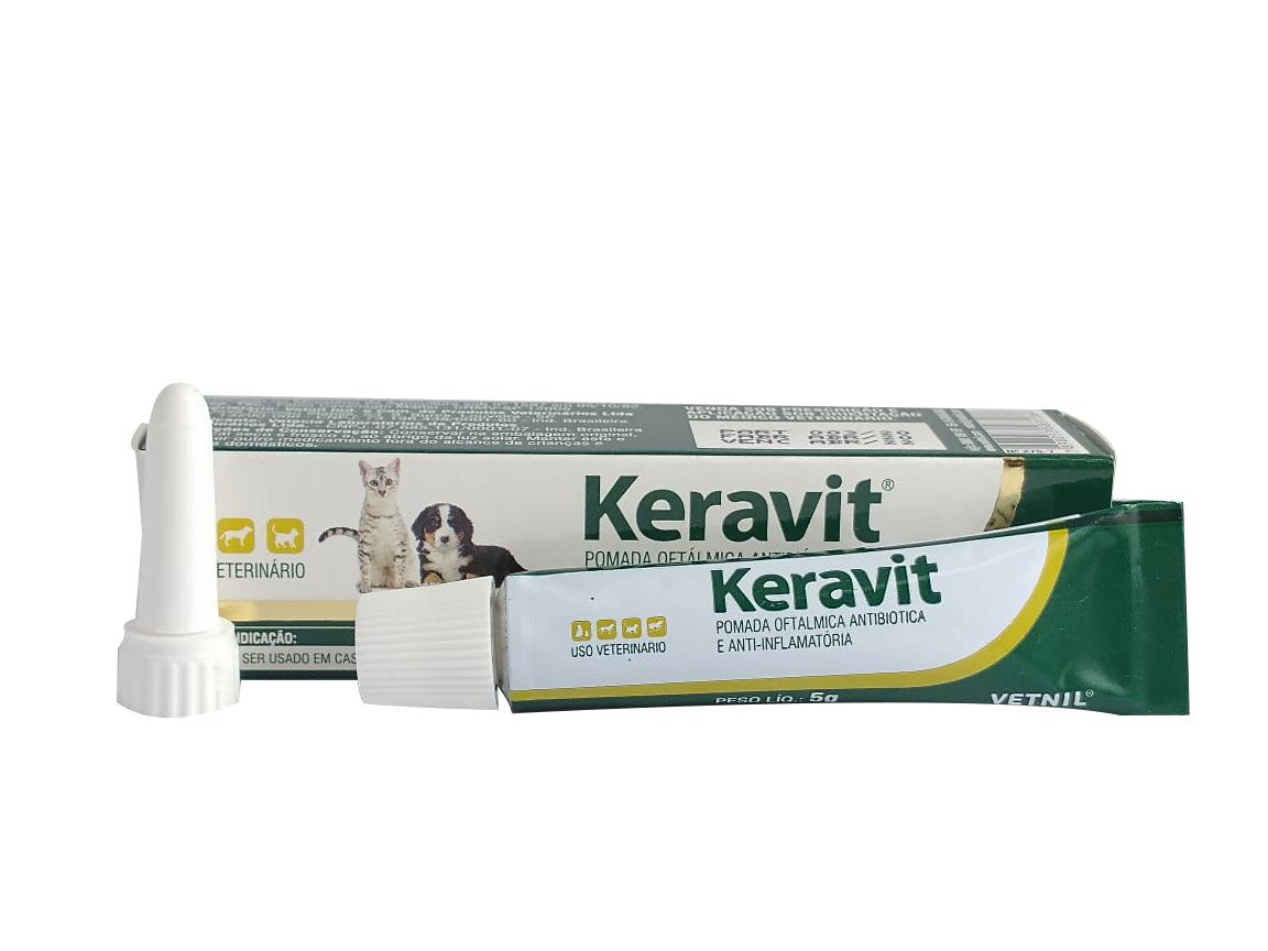 Keravit Pomada Oftálmica Antibiótica Para Animais 5g