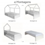 Cama Montessori 4 em 1 - Cinza