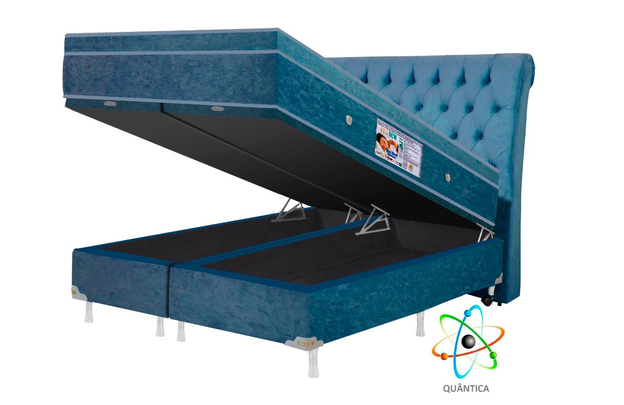 Cama Box Baú + Colchão Magnético Queen Infravermelho Bioquântico (Tamanho 1,58 X 1,98)