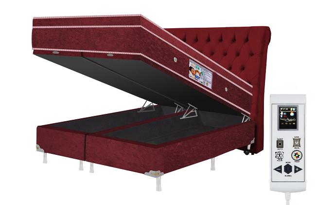 Cama Box Baú + Colchão Magnético King Infravermelho Massageador Eco Ozônio (Tamanho 1,93 X 2,03)