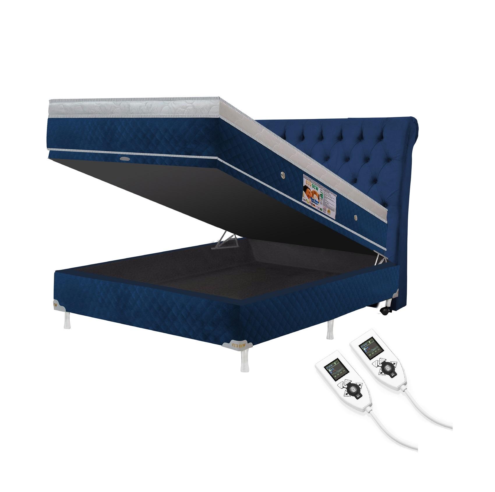 Cama Box Baú + Colchão Magnético Casal  Premium Massageador 2 Controles Bio quântico (Tamanho 1,38X1,88)