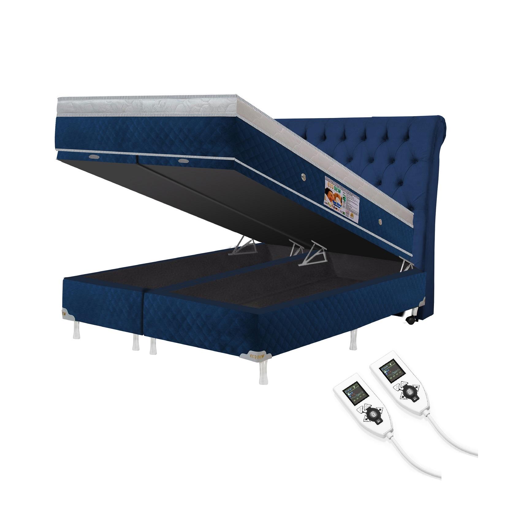 Cama Box Baú + Colchão Magnético King Premium Massageador 2 Controles Bio quântico (Tamanho 1,93X2,03)