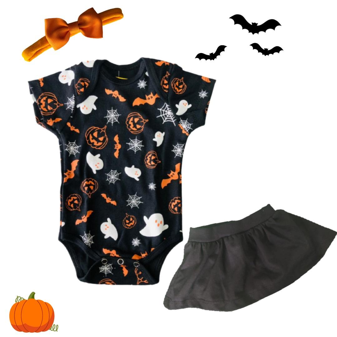 Look Halloween com saia e laço