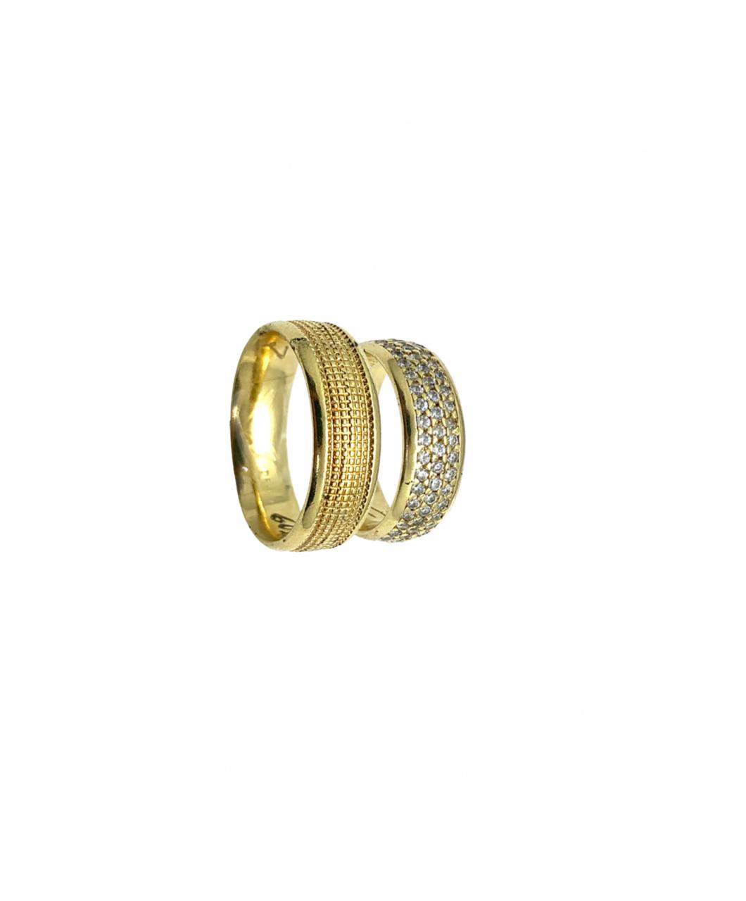 Par de Aliança Ouro 18k Casamento Luxo Trabalhada 2,00mm Largura Por 7,00mm espessura