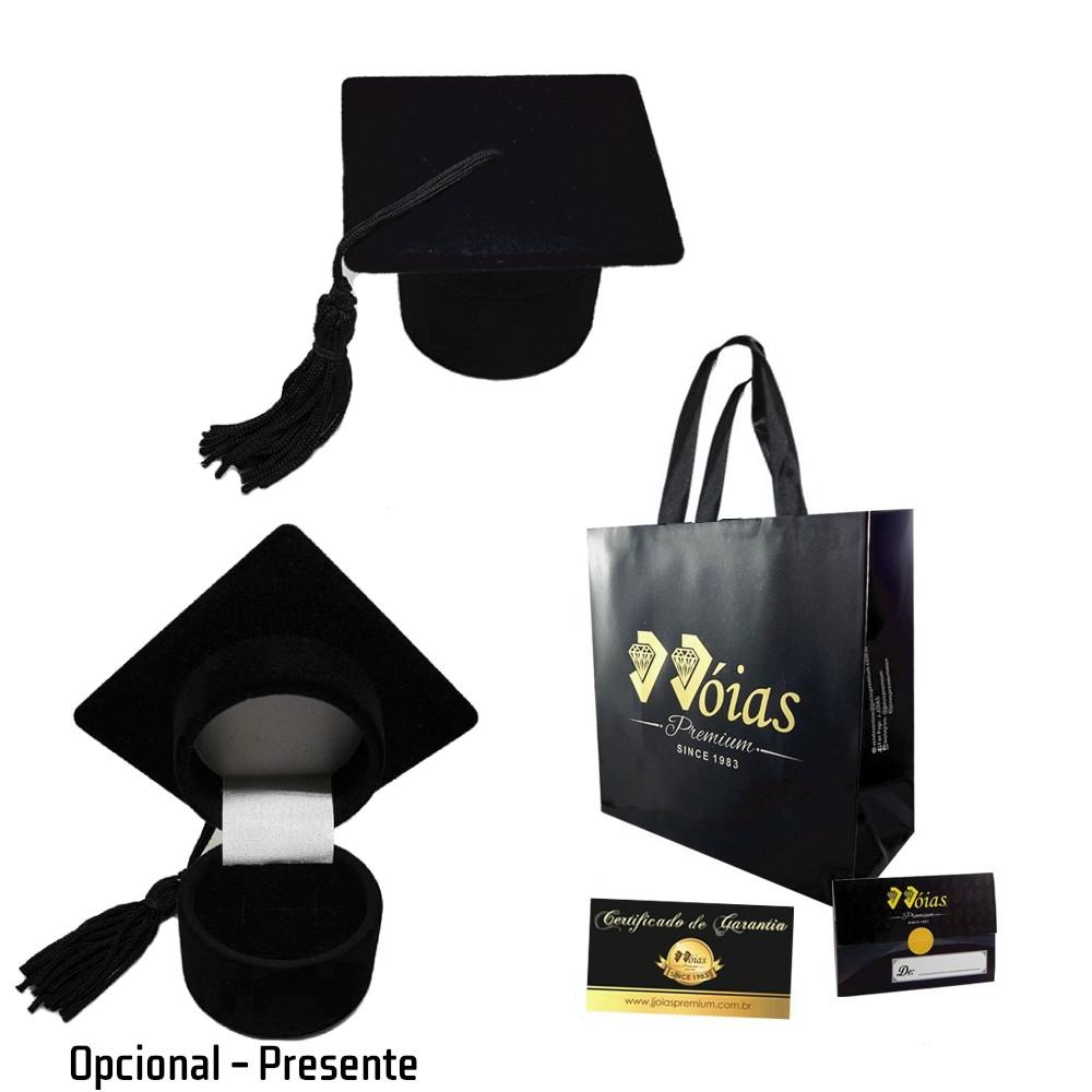 Anel de Formatura Direito Ouro 18K c/ Zircônia Jjoias Premium