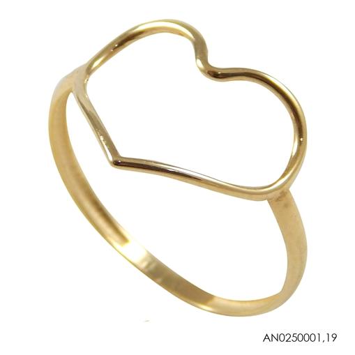 Anel de Ouro 18k Coração Vazado
