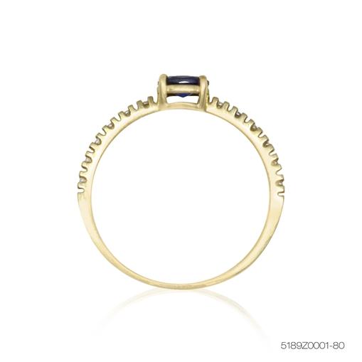 Anel De Ouro 18k Cravejado Com Pedra Azul Jjoias Premium